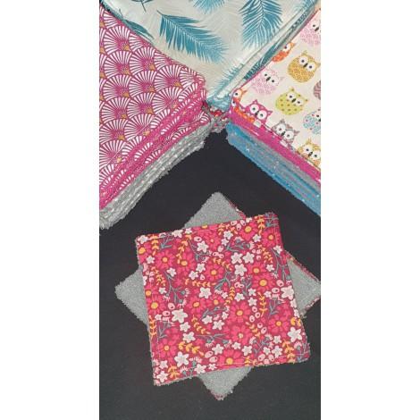"""Lingettes 12X12cm par 3 """"Petites Fleurs Rouge Gris"""""""